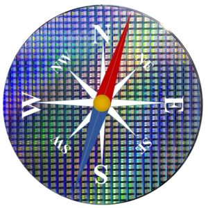 Visual looks like a compass built on a silicon wafer of memory chips